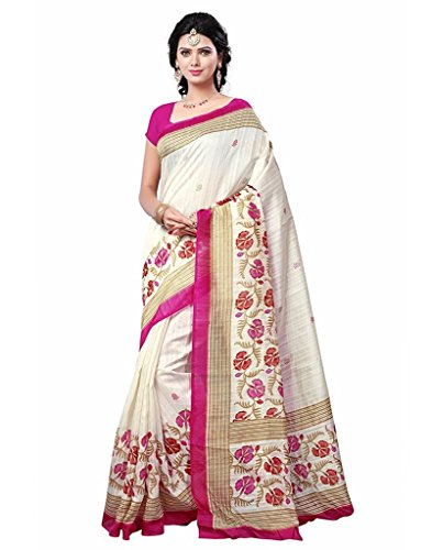 Jaanvi fashion Women's Bhagalpuri Silk White & Pink Printed SareeWith Unstitched Blouse