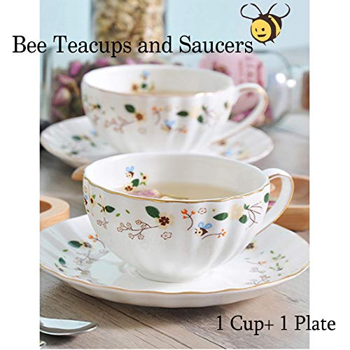 Flower Bee Tea cups and Saucers, Coffee Bone China Mug 1 Set with Beautiful box(1 cup and -