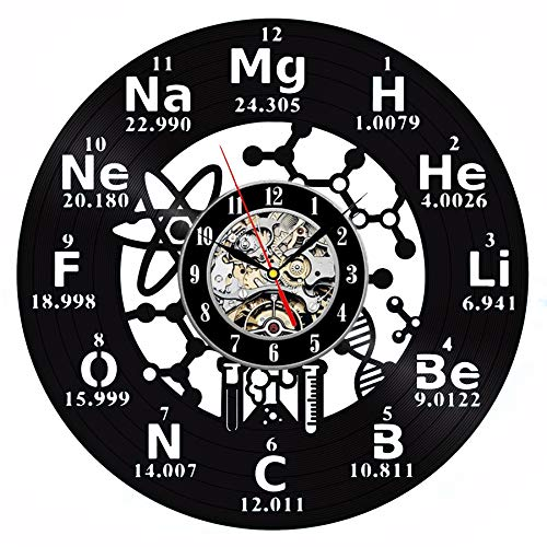 - Chemistry Molecule Biochemistry Vinyl Wall Clock 12 in(30cm) Black Decor Modern Decorative Vinyl Record Wall Clock This Clock is A Unique Gift to Your Friends and Family for Any Occasion