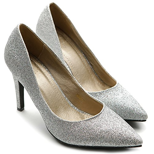 Pump Multi Heel Glitter Women's High Color Shoe Ollio Silver Light 1q0wSgP