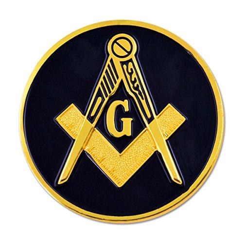 (Square & Compass Round Black & Gold Masonic Auto Emblem - 3