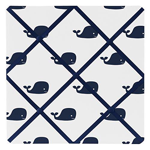 Sweet Jojo Designs Blue Whale Collection Fabric Memory/Memo Photo Bulletin Board