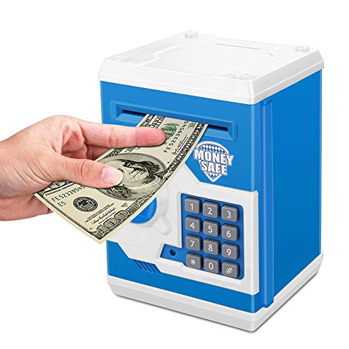 (Zonkin Electronic Password Piggy Bank Kids Safe Bank Mini ATM Electronic Money Save Box Cash Coin Can (Blue)