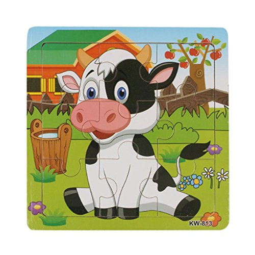 Lisingtool Toys,Kids Education And Learning Puzzles Toys Wooden Dairy Cow Jigsaw Toys