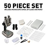 NATIONAL GEOGRAPHIC Dual LED Student Microscope – 50+ pc Science Kit Includes Set of 10 Prepared Biological & 10 Blank Slides, Lab Shrimp Experiment, 10x-25x Optical Glass Lenses and