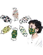 6 Pcs Kids Reusable, Washable Facial Cloth Cute Print Breathable Cotton Face Bandanas with Adjustable Ear Loop for Children Teens Boys Girls Students for Cycling Travel Outdoors