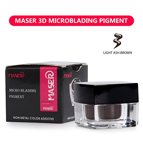 MASER 3D Microblading Pigment 100% Plant Material Tattoo Ink Permanent Makeup Pigment for Manual Pen for Eyebrow Lip and EyeLiner (LIGHT ASH BROWN)