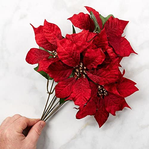 Factory Direct Craft Festive Red Velvet Artificial Poinsettia Bush for Indoor Holiday Decor