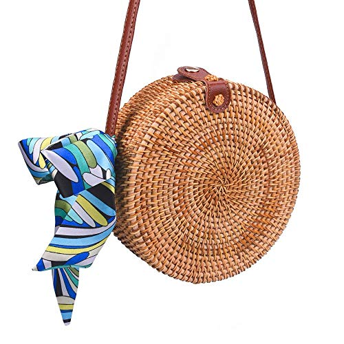 Round Rattan Bags, Handmade Bali Ata Straw Woven Circle Crossbody Handag for Women with Shoulder Leather Strap (Woven Basket Straw)