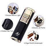 HUOWA Dual Jets Torch Lighter with a Cigar Punch