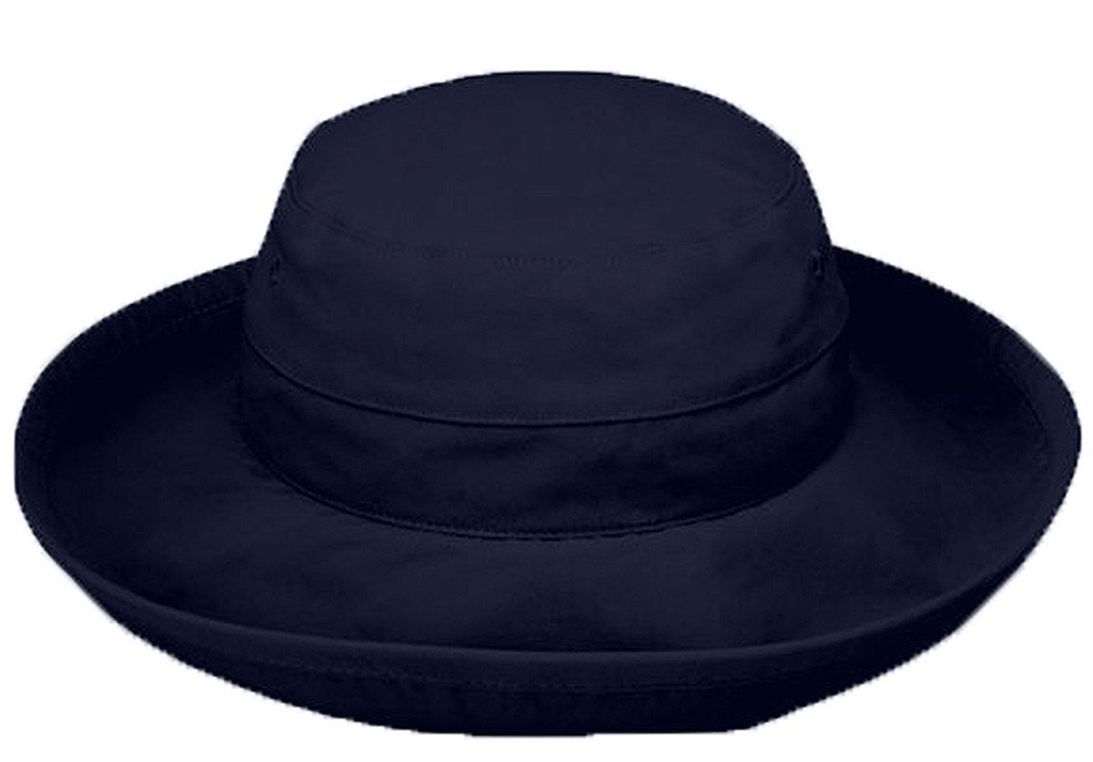 Ladies Casual Traveler Hat Wide Brim Packable Lightweight Travel Hat UPF 50 Sun Protective Bucket Hat (XLarge, Navy)