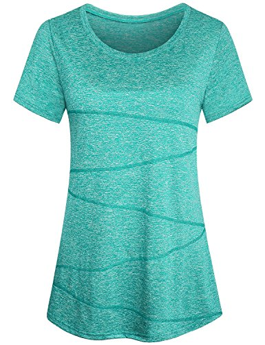ZHENWEI Women's Short Sleeve T-Shirt Casual Fit Plus Long Workout Yoga (Green Workout T-shirt)