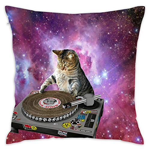 Reteone Space Cat Playing Disk Pillowcase Covers - Zippered Pillow Case Cover, Pillow Protector, Best Throw Pillow Cover - Standard Size 18x18 Inch, Double-Sided Print Pillowcases