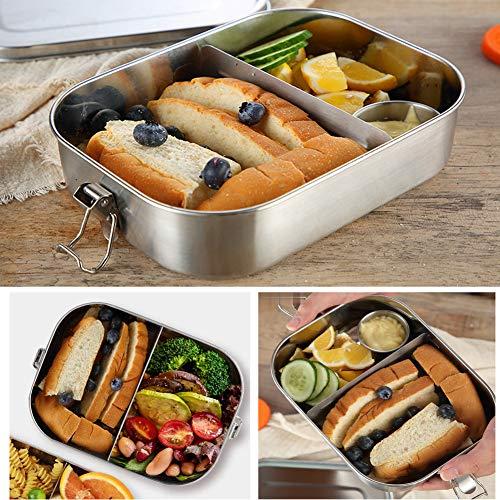 Loohome Edelstahl Brotdose Bento Boxen 1400ml, Herausnehmbarer Abschnitt Gesunde und Umweltfreundliche