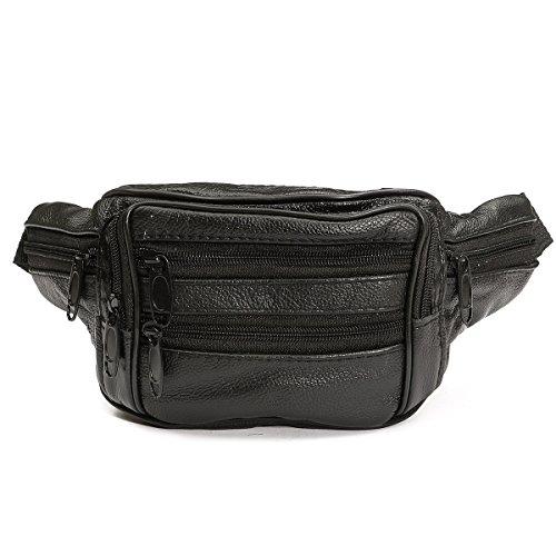 Unisex Black Soft Leather Bum Bag Waist Zippered Pocket (Black) - 2