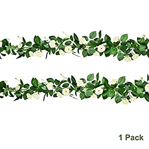 Artiflr 6 FT Fake Rose Vine Flowers Plants Artificial Flower Hanging Rose Ivy Plants Silk Flowers Rose Garland for Home Hotel Office Wedding Party Garden Arch Arrangement Decoration 7