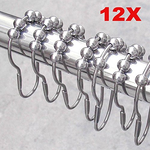 12pcs/pack Set Package Polished Satin Nickel 5 Roller Ball Shower Curtain Rings Hooks Antirust hanging ring -