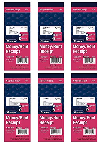 Adams Money/Rent Receipt Book, Carbonless, 3-Part, 2-3/4 x 7-3/16 Inches, 50 Sets per Book, Pack Of - Book Receipt Triplicate