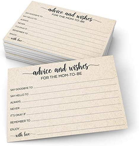 """321Done Advice and Wishes for The Mom-to-Be (50 Cards) 4"""" x 6"""" for Baby Advice Cards for Baby Shower Game Simple Elegant - Made in USA - Kraft Tan Large"""