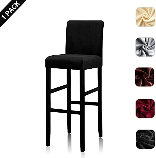 Removable Washable Counter Height Bar Stool Covers Dining Room Kitchen Barstool Cafe Furniture High Seat Chair Protectors Grey BTSKY 2 Pack Velvet Stretch Counter Stool Pub Chair Covers