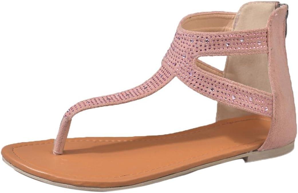 LUCKYCAT Amazon, Sandales d'été Femme Chaussures de Été Sandales à Talons Chaussures Plates Diamants Zipper Gladiateur Faible Niveau Sandales à