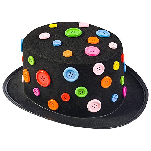 Funny Party Hats Clown Hat - Black Top Hat - Colorful Button Hat - Costume Hats – Novelty Hats – Clown Accessories
