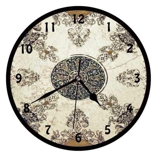 47BuyZHJX Ceramic Tiles Pattern-Decorative 10 Inchs Round Wall Clock,Silent Non Ticking Quartz Battery Operated Black Wall Clock for Home/Office/School.