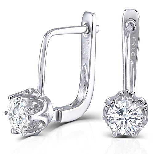 (Platinum Plated Sterling Silver 1ctw 5mm H-I Color Moissanite Leverback Dangle Drop Earrings for Women)