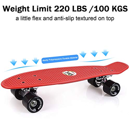 GASACIODS 22 Inch Mini Cruiser Penny Skateboard Complete Plastic Retro Board with Bendable Deck and Smooth PU Casters for Kids Youths Beginners, 220 Ibs.