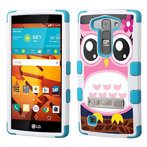 LG Volt 2 case - [Pink Owl](White/Teal)UNIQUITI(TM) cell phone armor cover [TuMax] dual layer hybrid hard skin guard ultra protective shell (will not fit the 1st gen LG Volt)