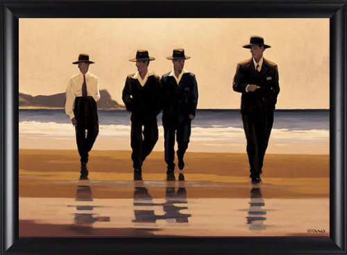 The Billy Boys Jack Vettriano Romance Beaches 2'' Solid Wood Framed Picture 30.5x22