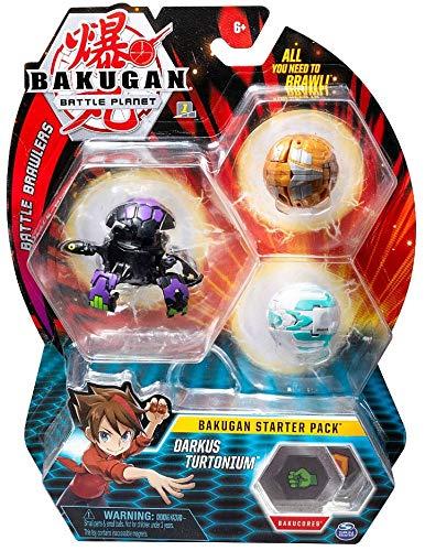 Bakugan Starter Pack 3-Pack, Darkus Turtonium, Collectible Transforming Creatures, for Ages 6 and Up (Darkus Bakugan)