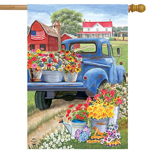 - Briarwood Lane Day On The Farm Spring House Flag Pick-up Truck Floral 28