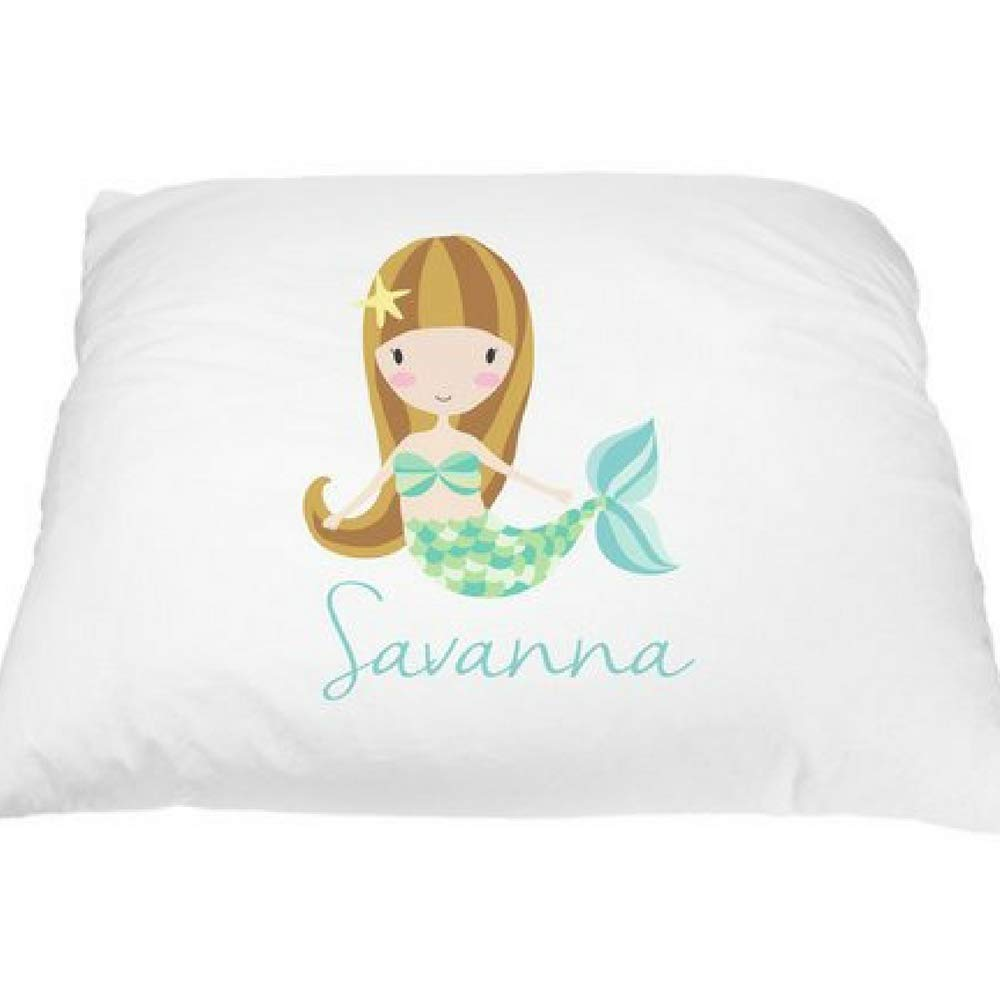 Mermaid Personalized Kid's Pillowcase - Microfiber Pillow Cover, Little Mermaid Pillow Case, Mermaid Room Decor, Mermaid Gifts for Girls, Mermaid Accessories, Polyester Standard 20 x 30 Inches