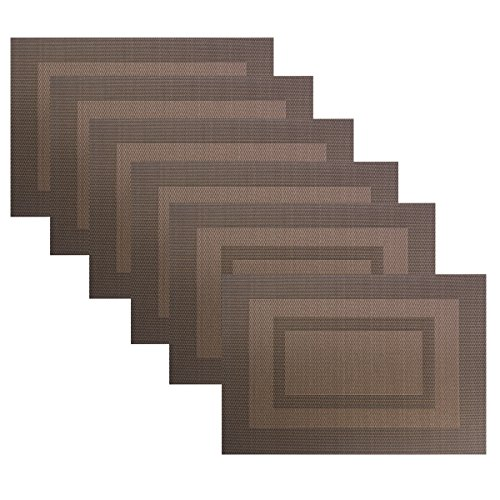 Placemats Set of 6,Washable Woven Vinyl Kitchen Table Mats Non Slip Placemats,Heat Insulation Stain Resistant Placemats for Dining Table(Brown)