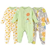 Unisex-Baby Footed Pajamas Sleeper for 0-6 Months - 3 Packs Infant Cotton Long Sleeve Jumpsuit Newborn Romper Bodysuit