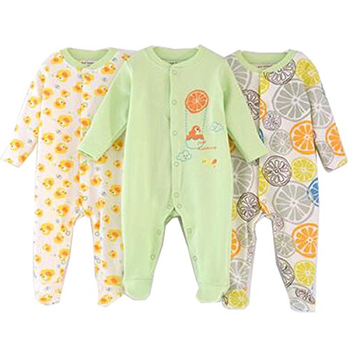 Unisex-Baby Footed Pajamas Sleeper for 0-6 Months - 3 Packs Infant Cotton Long Sleeve Jumpsuit Newborn Romper Bodysuit by Blueleyu
