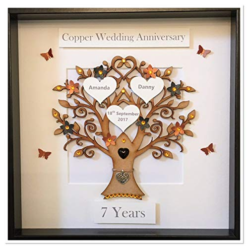 Personalised 7 Years Copper & Black Wedding Anniversary Family Tree Picture Frame Gift