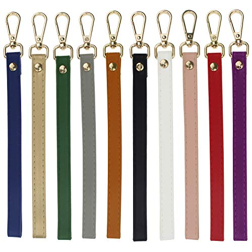 (Coolcoco Colorful Leather Lanyard Wrist Strap Replacement for Purse/Wallet/Name Tag/Badge/Key Chain Holder (10 Pieces/Set))