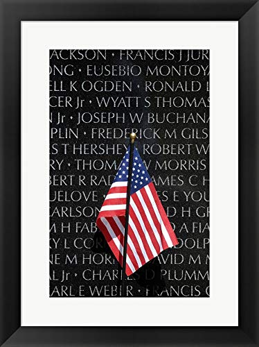 (American Flag at Vietnam Veterans Memorial Framed Art Print Wall Picture, Black Frame, 16 x 21 inches)