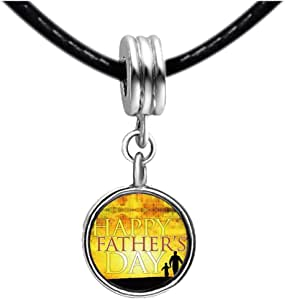 Chicforest Silver Plated Happy Father's Day sunset Photo Light Rose Crystal October Birthstone Flower dangle Charm Beads Fits Pandora Charms