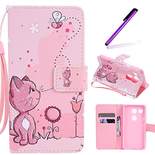 Nexus 5X Case, LEECOCO Fancy Paint Design Wallet Case with Card Slots Shockproof Colorful Floral PU Leather Flip Stand Magnetic Case Cover for LG Google Nexus 5X/5 2nd Gen 2015,Pink Cat