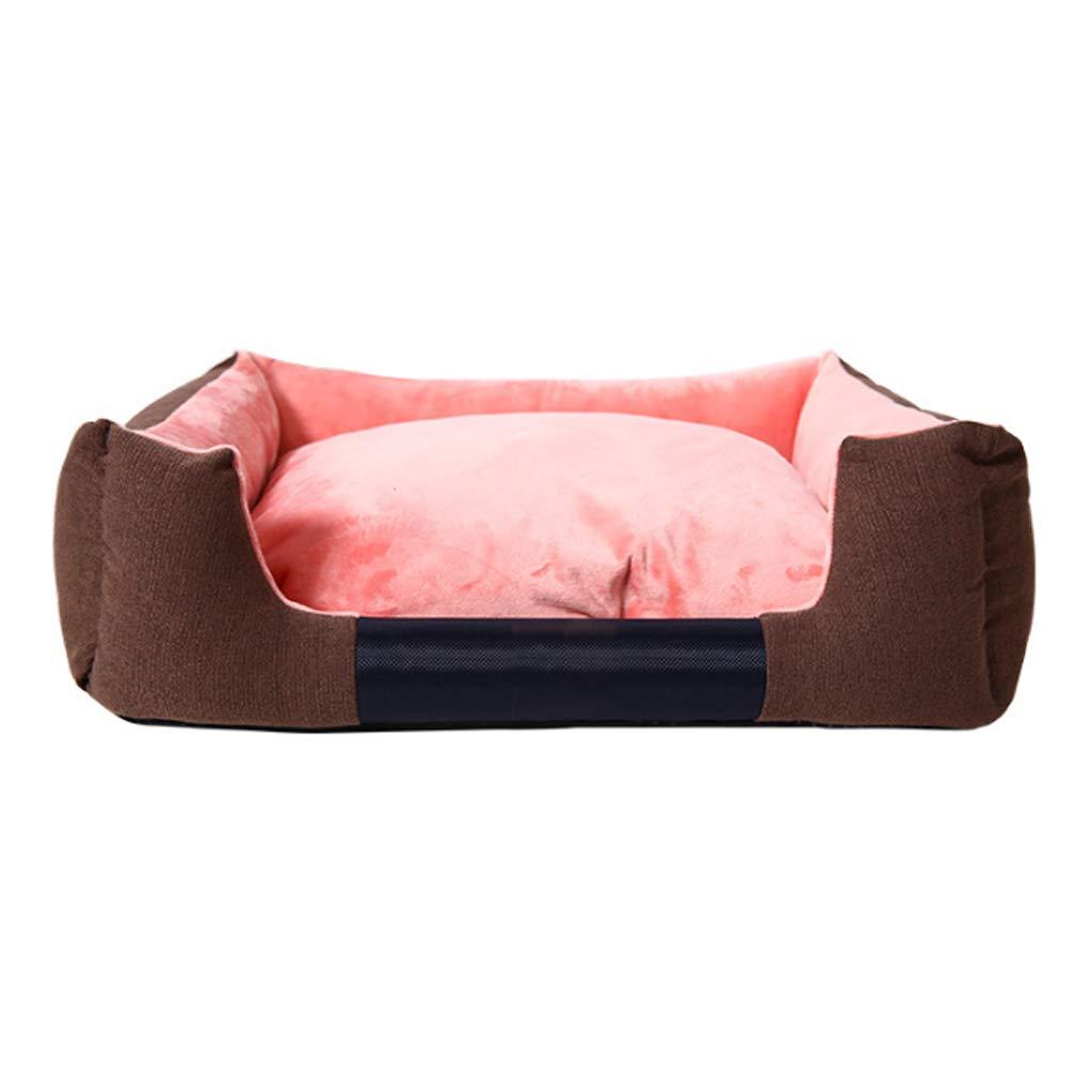 Pink S(5 kg inside pet) Pink S(5 kg inside pet) Rectangular Pet Nest Four Seasons General Small and Medium Size Removable Washable Thick Velvet Cat Kennel Villa Warm Mat 4 color Optional MUMUJIN (color   Pink, Size   S(5 kg Inside pet))