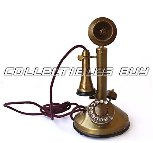 Vintage Brass Antique Solid Candle Stick Telephone Double ringer western electric phone ()