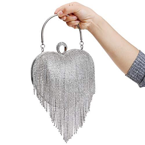 Ladies Wallet Dress Purse Bags Bridal Clutches Chain Silver Prom Women's Diamante Evening Bag qg6XHtw6cZ