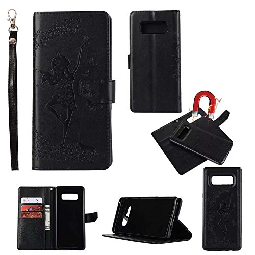 Ballet Embossed Wallet - For Samsung Galaxy Note 8 Wallet Phone Case-Welegant Emboss Girl Butterfly Kickstand Wallet Detachable Magnetic Slim Skin Cover with Card Slots Cash Pocket Wrist Strap (For Galaxy Note 8, Black)