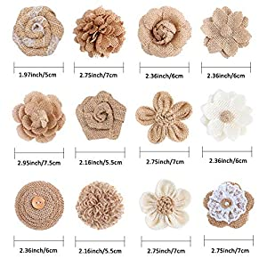 APICCRED 24PCS Burlap Flowers for Crafts 12Styles Natural Handmade Rustic Rose Flower for Burlap Decoration DIY Craft Bouquets Home Wedding Christmas Party Decoration 2