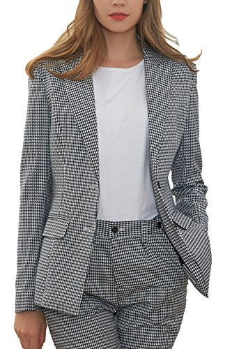 Hanayome Women's Blazer Business 2-Piece Suit Formal Office Suit & Trousers Sets MI2 (Grey, 18W)