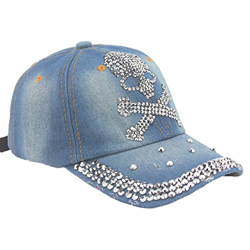 LKXHarleya Women Bling Rhinestone Skull Baseball Hats Washed Cotton Denim Adjustable Baseball Caps Vintage Distressed Trucker Hat Snapback