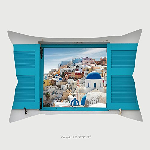 Custom Microfiber Pillowcase Protector Window With Cityscape Of Oia Traditional Greek Village Of Santorini Greece 430453882 Pillow Case Covers Decorative